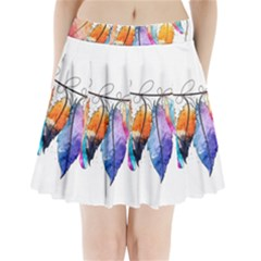 Watercolor Feathers Pleated Mini Skirt