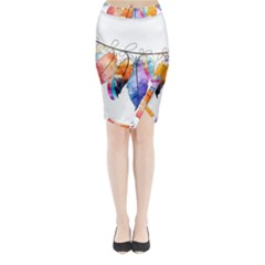 Watercolor Feathers Midi Wrap Pencil Skirt