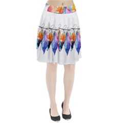 Watercolor Feathers Pleated Skirt