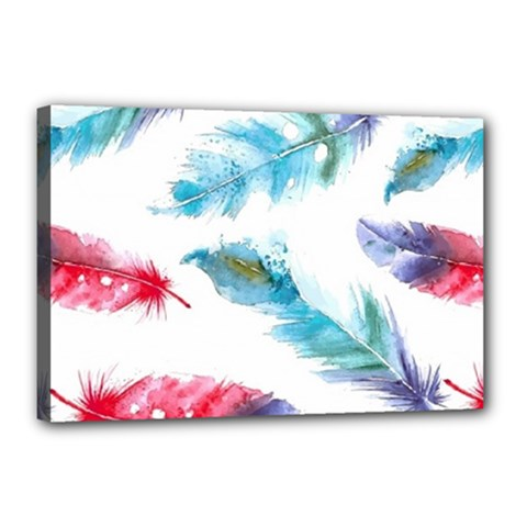Watercolor Feather Background Canvas 18  x 12
