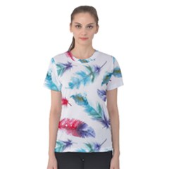 Watercolor Feather Background Women s Cotton Tee