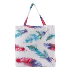 Watercolor Feather Background Grocery Tote Bag