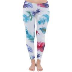 Watercolor Feather Background Classic Winter Leggings