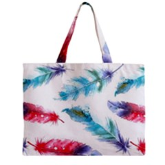 Watercolor Feather Background Zipper Mini Tote Bag