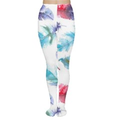 Watercolor Feather Background Women s Tights