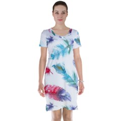 Watercolor Feather Background Short Sleeve Nightdress