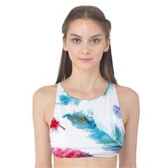 Watercolor Feather Background Tank Bikini Top