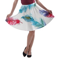 Watercolor Feather Background A-line Skater Skirt