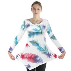 Watercolor Feather Background Long Sleeve Tunic