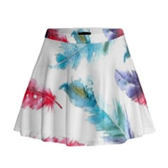 Watercolor Feather Background Mini Flare Skirt
