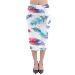 Watercolor Feather Background Midi Pencil Skirt
