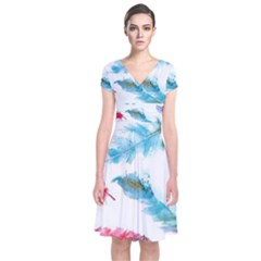 Watercolor Feather Background Short Sleeve Front Wrap Dress