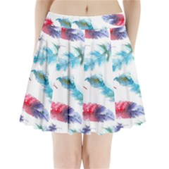 Watercolor Feather Background Pleated Mini Skirt