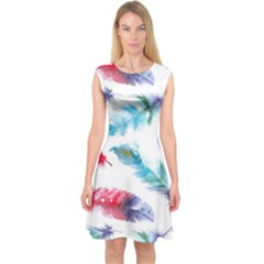 Watercolor Feather Background Capsleeve Midi Dress