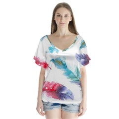 Watercolor Feather Background Flutter Sleeve Top