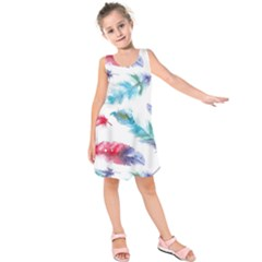 Watercolor Feather Background Kids  Sleeveless Dress