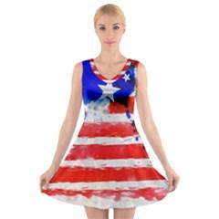 Watercolor Flag V-Neck Sleeveless Skater Dress
