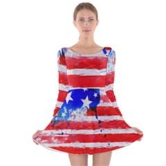 Watercolor Flag Long Sleeve Velvet Skater Dress