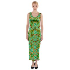 Flowers In Mind In Happy Soft Summer Time Fitted Maxi Dress