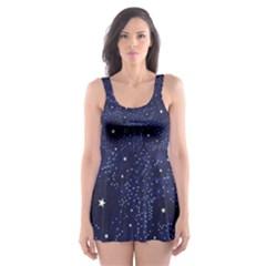 Awesome Allover Stars 01b Skater Dress Swimsuit