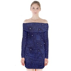 Awesome Allover Stars 01b Long Sleeve Off Shoulder Dress