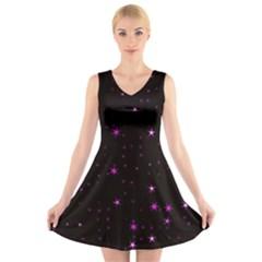 Awesome Allover Stars 02d V-Neck Sleeveless Skater Dress