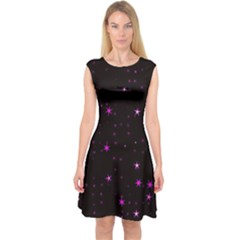 Awesome Allover Stars 02d Capsleeve Midi Dress