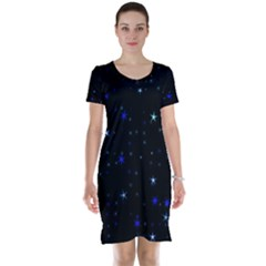 Awesome Allover Stars 02 Short Sleeve Nightdress