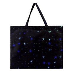 Awesome Allover Stars 02 Zipper Large Tote Bag