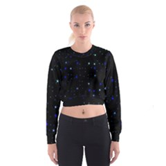 Awesome Allover Stars 02 Cropped Sweatshirt