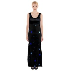Awesome Allover Stars 02 Maxi Thigh Split Dress