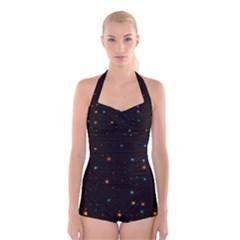 Awesome Allover Stars 02e Boyleg Halter Swimsuit