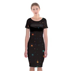 Awesome Allover Stars 02e Classic Short Sleeve Midi Dress