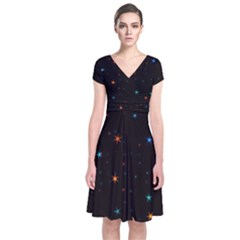 Awesome Allover Stars 02e Short Sleeve Front Wrap Dress