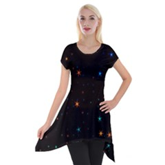Awesome Allover Stars 02e Short Sleeve Side Drop Tunic