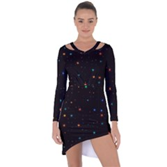 Awesome Allover Stars 02e Asymmetric Cut-Out Shift Dress