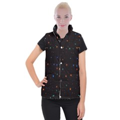 Awesome Allover Stars 02e Women s Button Up Puffer Vest