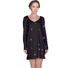 Awesome Allover Stars 02f Long Sleeve Nightdress