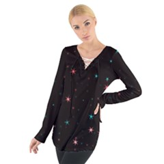 Awesome Allover Stars 02f Women s Tie Up Tee