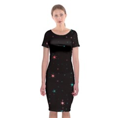 Awesome Allover Stars 02f Classic Short Sleeve Midi Dress