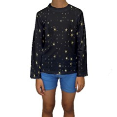 Awesome Allover Stars 02a Kids  Long Sleeve Swimwear