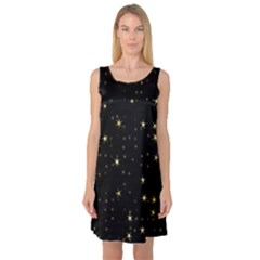 Awesome Allover Stars 02a Sleeveless Satin Nightdress