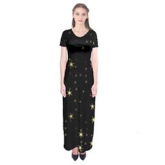 Awesome Allover Stars 02a Short Sleeve Maxi Dress