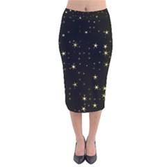 Awesome Allover Stars 02a Velvet Midi Pencil Skirt