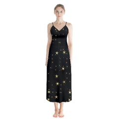Awesome Allover Stars 02a Button Up Chiffon Maxi Dress