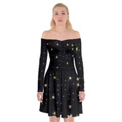 Awesome Allover Stars 02a Off Shoulder Skater Dress