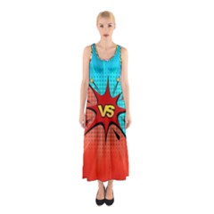 Comic Book VS with Colorful Comic Speech Bubbles  Sleeveless Maxi Dress