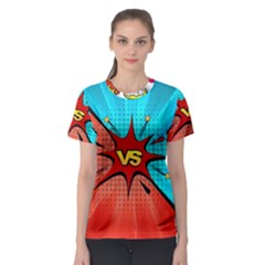 Comic Book VS with Colorful Comic Speech Bubbles  Women s Sport Mesh Tee
