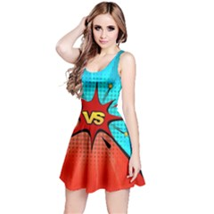 Comic Book VS with Colorful Comic Speech Bubbles  Reversible Sleeveless Dress