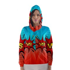 Comic Book VS with Colorful Comic Speech Bubbles  Hooded Wind Breaker (Women)